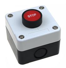 цена на 22mm button switch white control plastic waterproof box STOP red switch emergency stop industrial start stop control box 68X68mm
