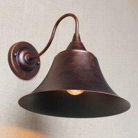 Industrial Antique Rust Retro Metal Shade Wall Lamp For Workroom Bedside Bedroom Light Bathroom Light Luminaire