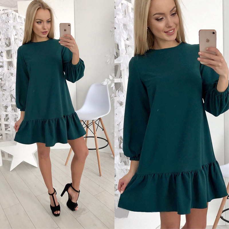 Autumn New Style Women Solid Sexy Petal Long Sleeve Pleated Dress 2019 Loose Vestidos Fall Sashes dresses vestidos
