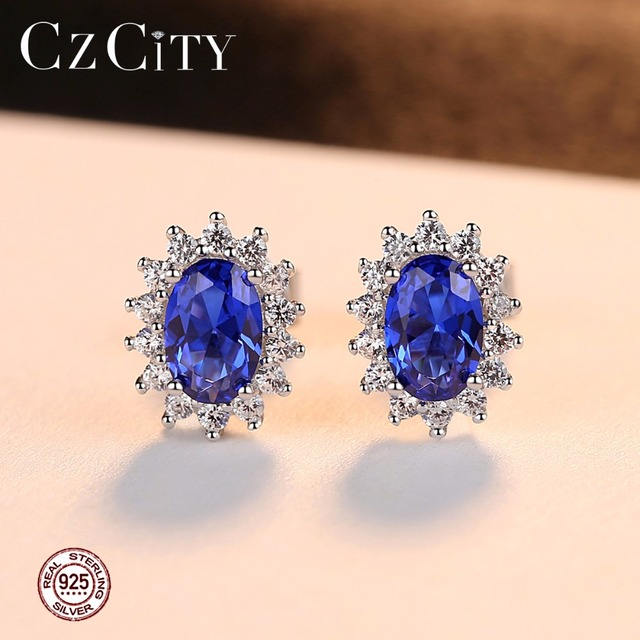 CZCITY New Natural Birthstone Royal Blue Oval Topaz Stud Earrings With Solid 925 Sterling Silver Fine Jewelry For Women Brincos 1