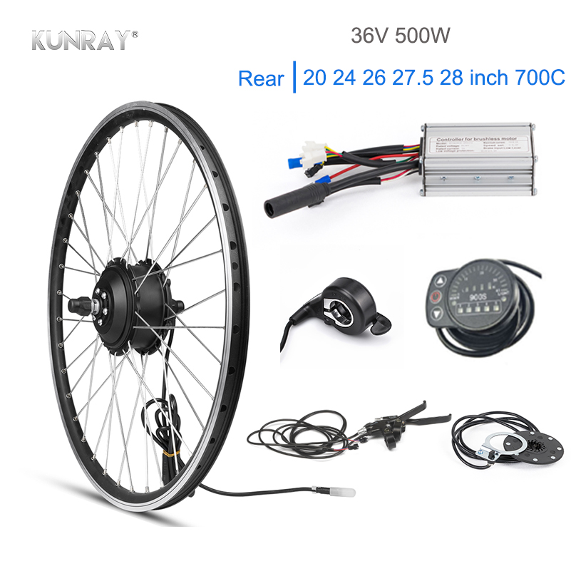 KUNRAY Electric Bike Conversion Kit 36V 500W Rear Motor Wheel Bike Engine For Mountain Bicycle 22A KT bldc Controller LED 20 26