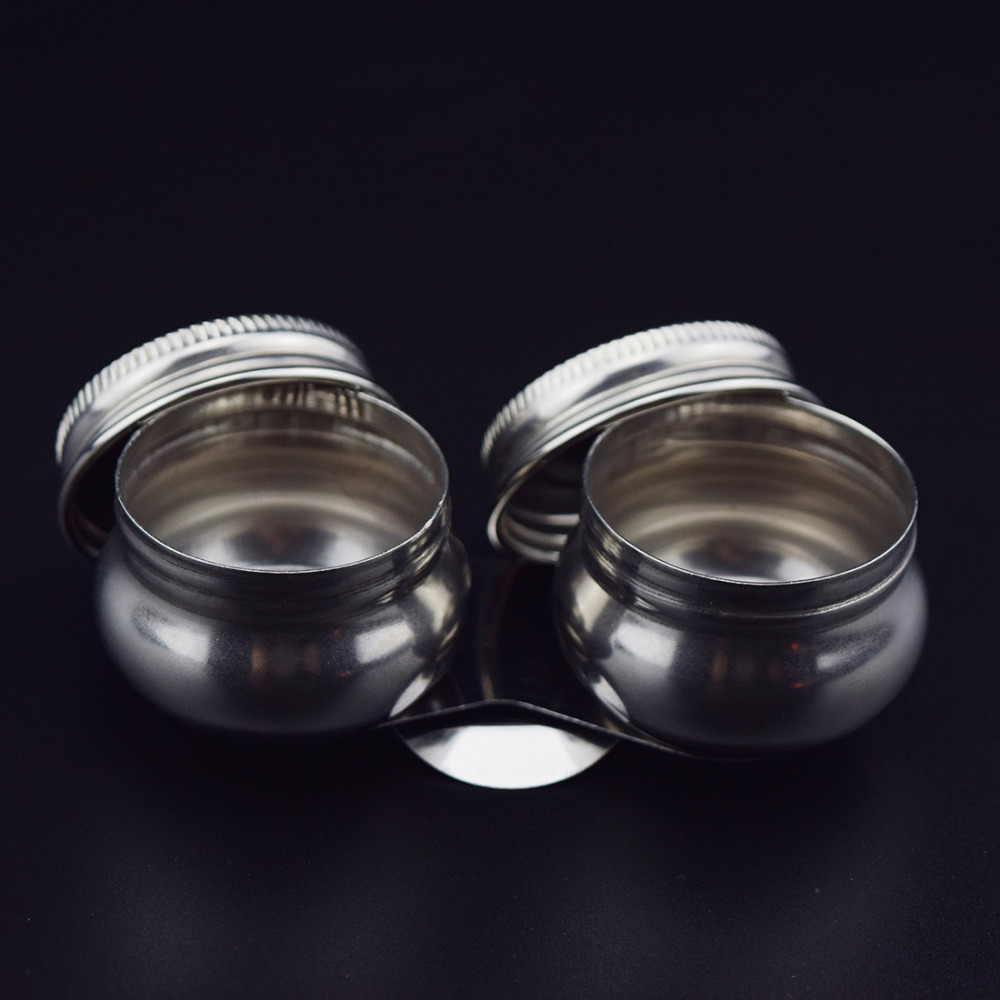 Honey Joy 2 pots/set Anti-volatilization Stainless Steel Cup with Cover for Nail Art Acrylic Liquid Powder Container Case Bottle