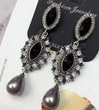 Black Glass White Rhinestone Pearl Fashion Long Earring Women Fashion Jewelry New arrival metal with gems stud for Girls E725(China)