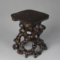 Preto raiz escultura de madeira sólida base de raiz
