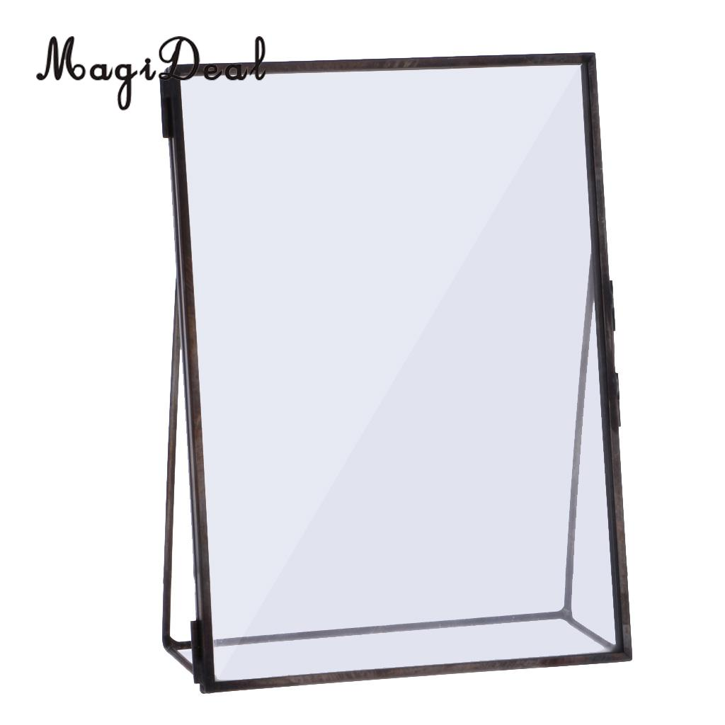 MagiDeal Glass Photo Frame Antique Freestanding Brass Picture Frames ...