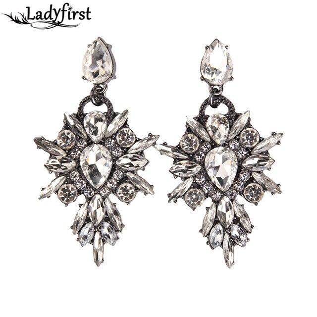 Colourful Flower Starburst Crystal Statement Earrings