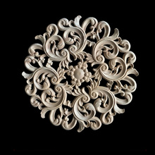 Unpainted Wood Carved Decal Corner Applique Frame for Home Furniture Wall Cabinet Door Decorative Crafts