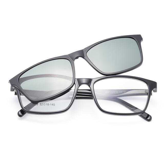 Gmei Optical 1608 Urltra-Leve Óculos TR90 Quadro com Clip-on Polarizado Guarda-sóis para Mulheres e Homens Eyewear