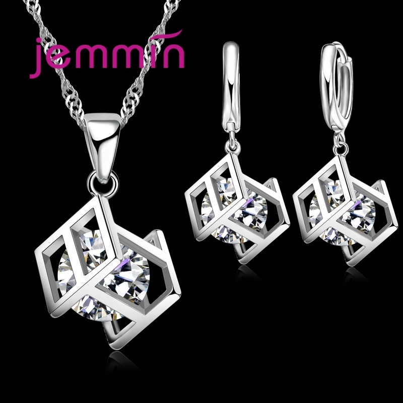 New Arrival Women Square Shape Cubic Zirconia Inside Dangle Earrings Pendant Necklace 925 Sterling Silver Jewelry Sets For Sale