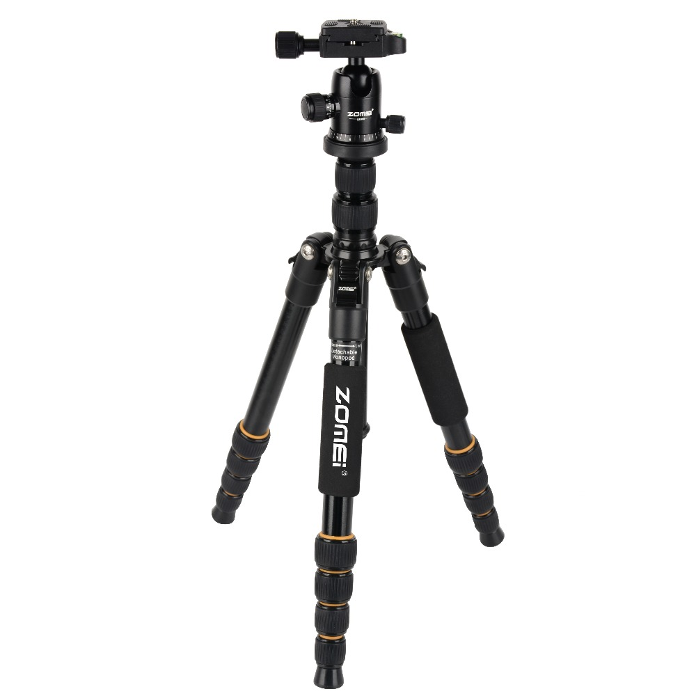 Zomei Q666 Professional Tripod Monopod with Ball Head Compact Travel Tripods Portable Camera Stand for SLR
