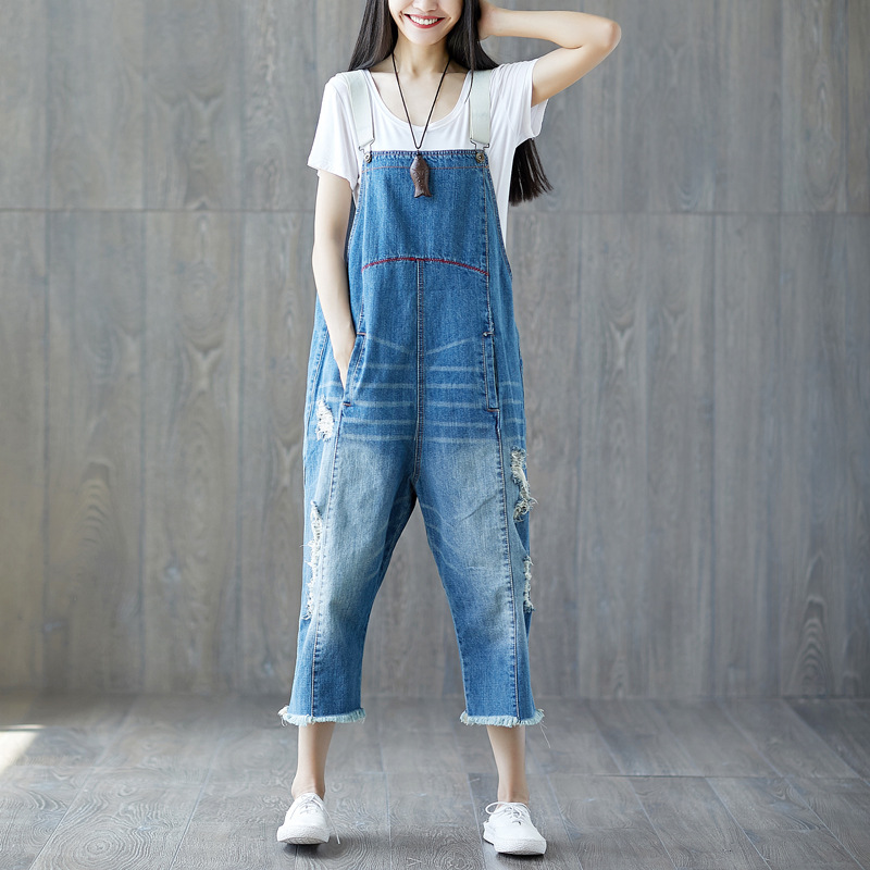 Women Summer Loose Scratched Denim Jumpsuits Ladies Bleached Vintage Holes Ripped Denim Rompers Pants jeans Female Overalls Брюки