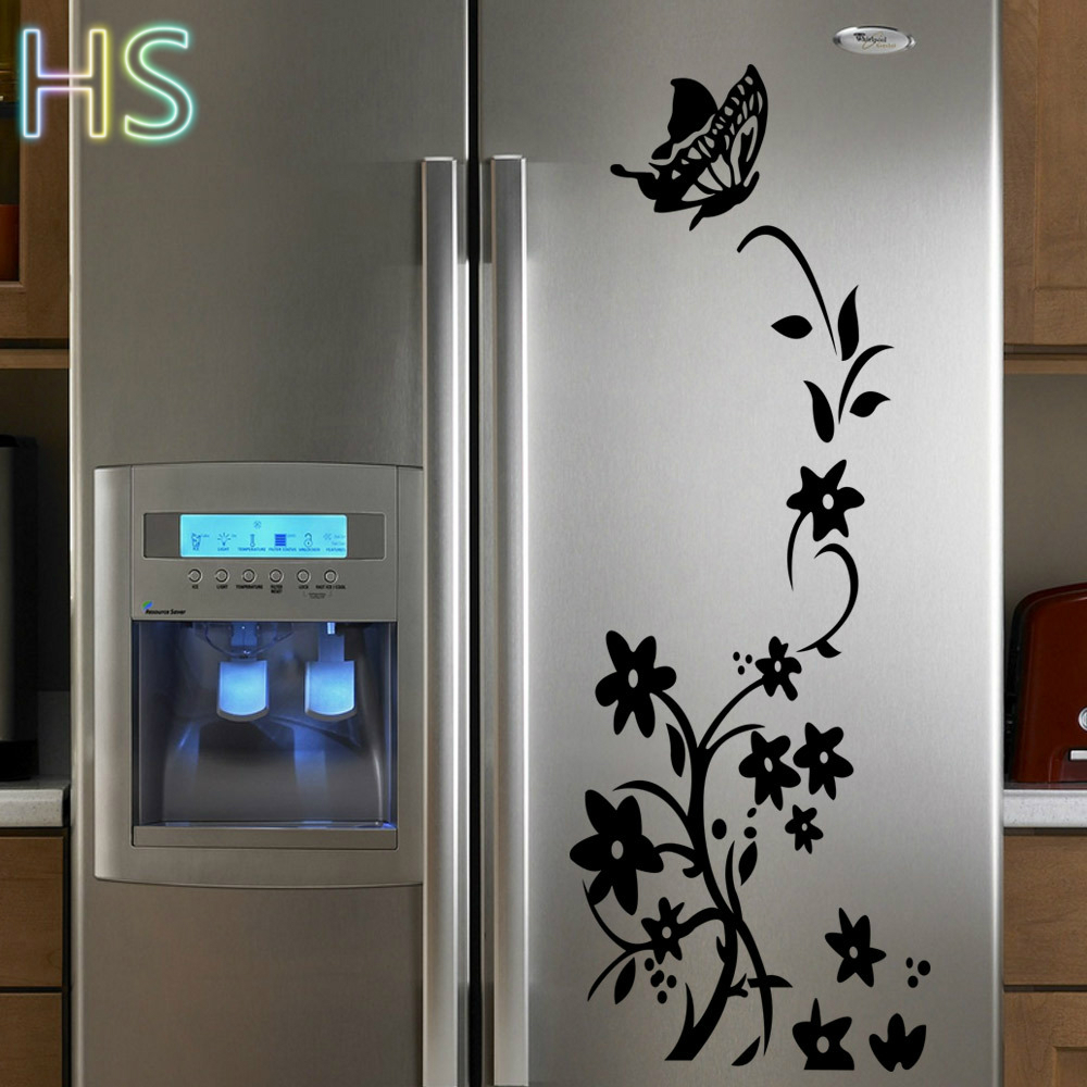 Refrigerator Stickers Aliexpresscom Buy Diy Butterfly And Flowers Wall Stickers