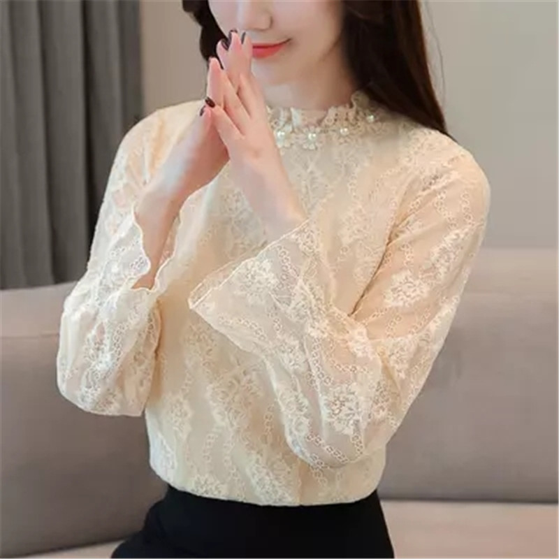 Women Black Lace Blouse 2018 Autumn Stand Neck Long Fare Sleeve Hollow Out Casual Shirts Plus
