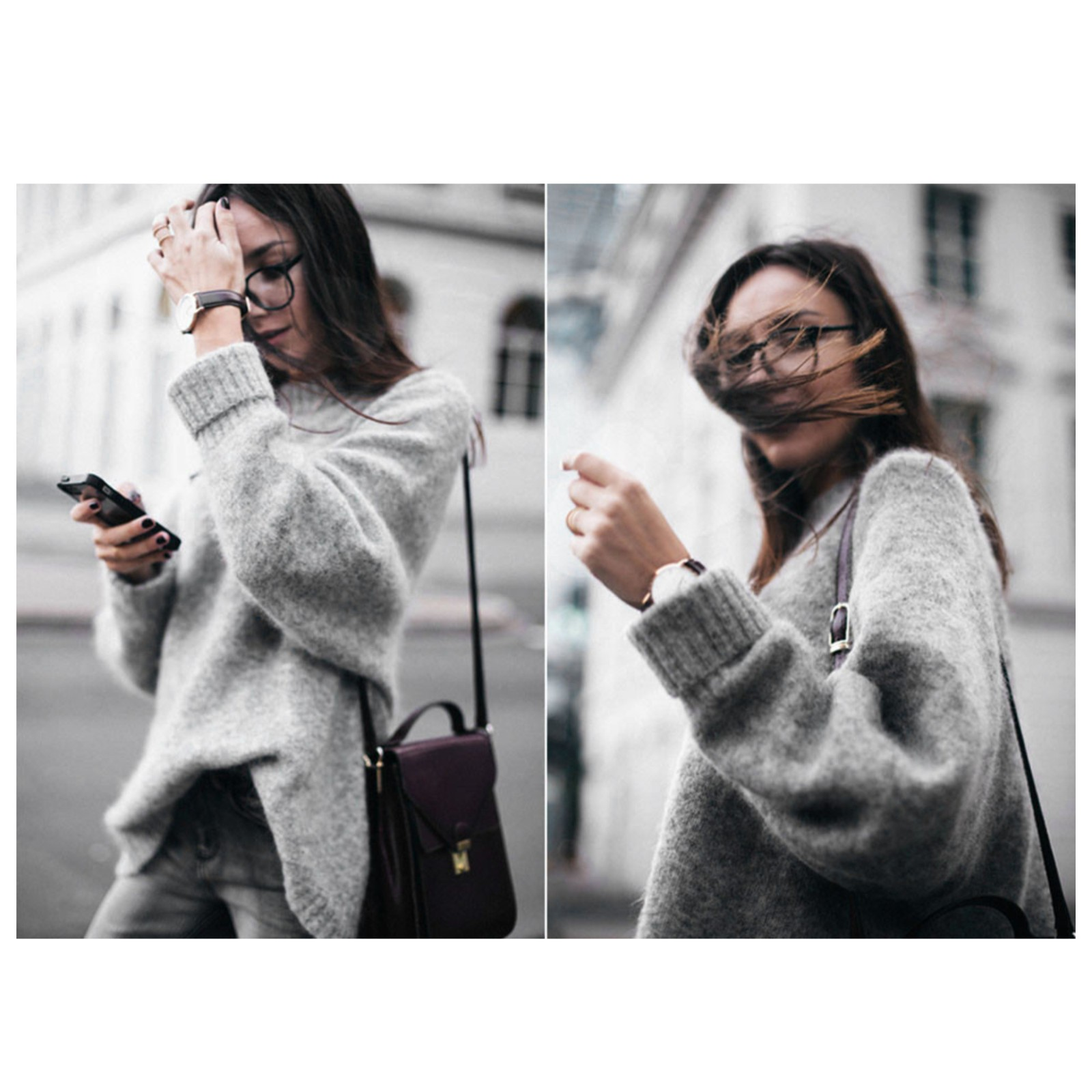 Korean Autumn and Winter Women Sweater Long Sleeve Turtleneck Knitted Pullover Gray Loose Solid Female Jumper Tops#GHC