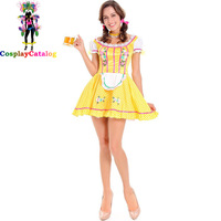 Sexy Adult Festival Oktoberfest Yellow Beer Girl Maid Fancy Dress Women German Maid Wench Halloween Party Costume