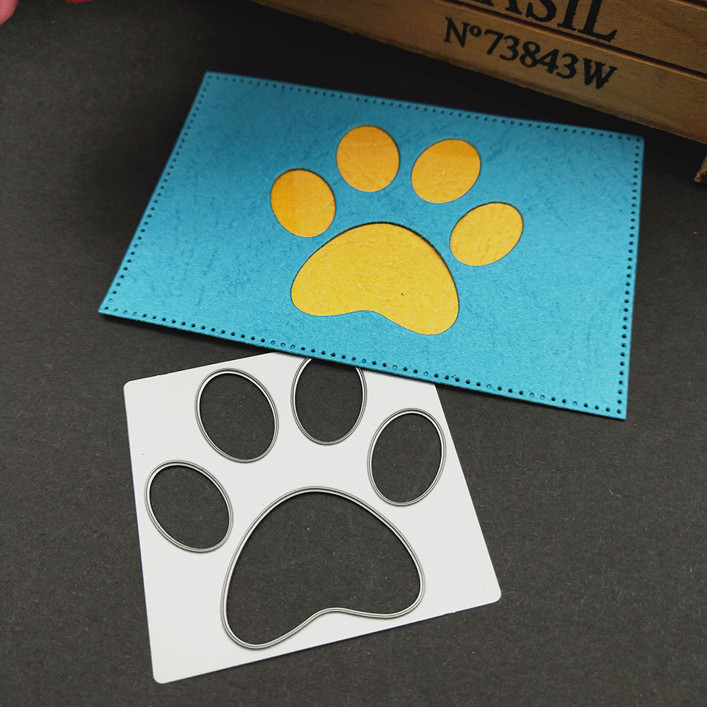 Dog Paw print Metal Cutting Dies For Stencil Embossing Scrap