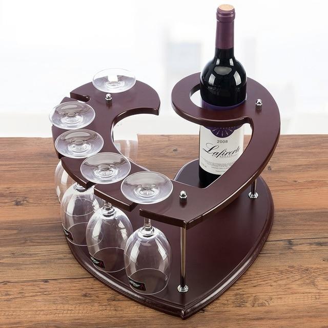 Heart Shaped Wood Wine Bottle Rack Decorative Steel Goblet Hanger Holder Mini Bar Ornament Craft