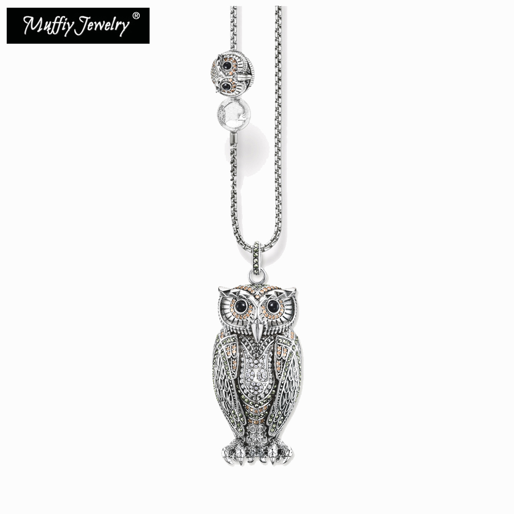 Big Owl and Small Owl Blackened Silver Necklace,Thomas Style Nice European Jewelry in 925 Sterling Silver with Zircon,TS Gift