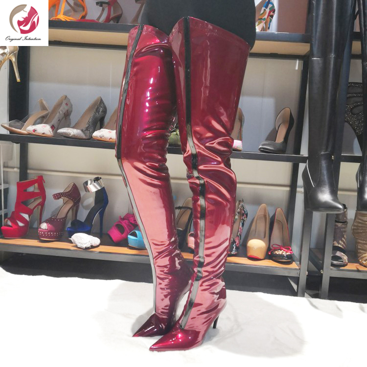 Original Intention New Elegant Women Over the Knee Boots   Wine Red Pointed Toe Thin Heels Boots Shoes Woman Plus US Size 4 15-in Over-the-Knee Boots from Shoes    1