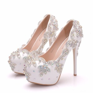 Image 5 - クリスタル女王の結婚式の靴の花嫁のかかとクリスタルパンプス日イブニングパーティー高級 14 センチメートル平方ヒールプラスサイズ白青 ABcolor