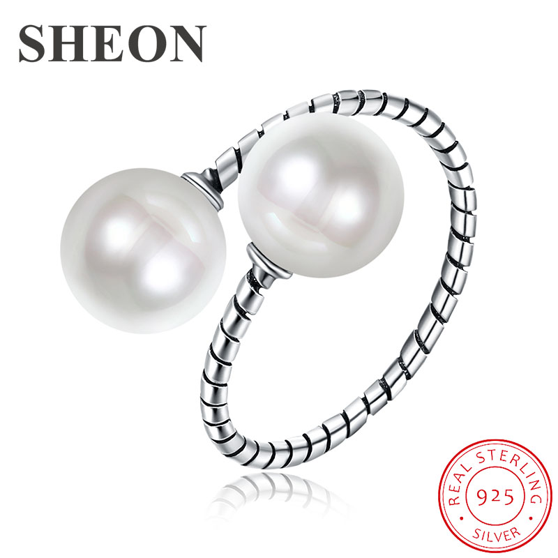 SHEON New Arrival Vintage Adjustable Finger Ring for Women 925 Sterling Silver Elegant Pearl Fine Jewelry Girl Gift