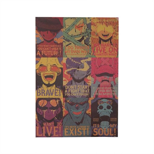 1 Pz ONE PIECE Poster Più Nuovo Anime formato Poster 50.5*35 CM Retro Kraft Cafe
