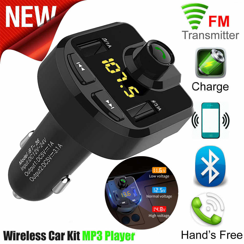 Car Handsfree Wireless Bluetooth Kit FM Transmitter LCD Car MP3 Player USB Charger FM Modulator Car Accessories