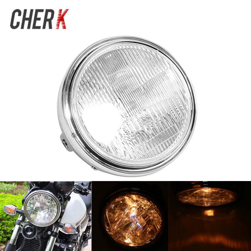 Cherk Motorcycle 35W Headlight Front Light Amber Cafe Racer Light For Suzuki Honda CB400 CB500 CB1300 Hornet 250 600 900