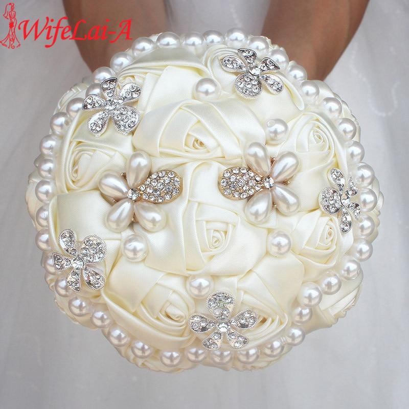 WifeLai-A Ivory Diamond Pearl Beaded Bouquet ,Cream Flower Bridal Bouquets Wedding Bridesmaid Bouquets (Accept Custom) W0724