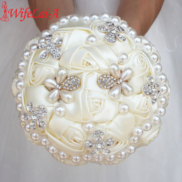 WifeLai-A Ivory Diamond Pearl Beaded Bouquet ,Cream Flower Bridal Bouquets Wedding Bridesmaid Bouquets (Accept Custom) W0724