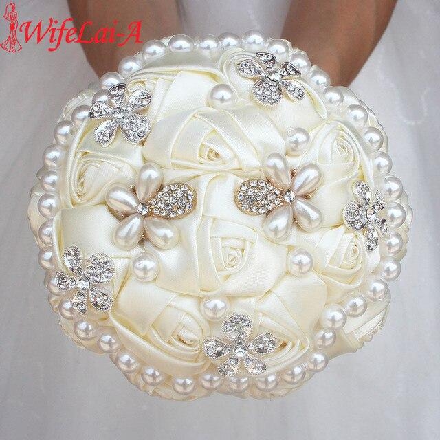 WifeLai un ramo de cuentas de perlas de diamante de marfil, ramos de novia de flores de crema Ramos de Dama DE HONOR DE BODA (se acepta personalizado) W0724