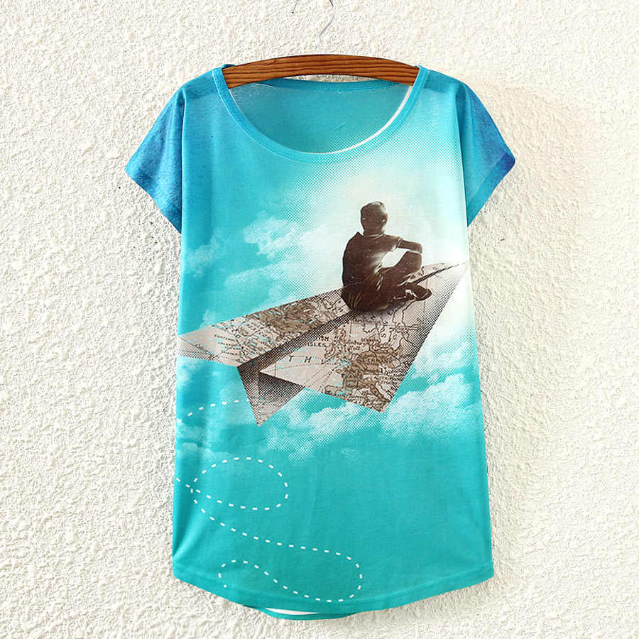 Shirt design boy 2016 - 2016 Summer New Style Paper Airplane Boy Women Short Sleeved T Shirt Printing Women