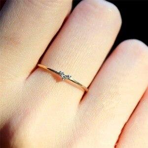 Женское кольцо с кристаллом цирконием, милое маленькое простое позолоченное кольцо золотого цвета с сердцем, обручальные кольца для женщин