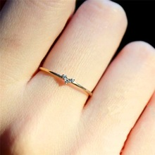 Female Crystal Zircon Stone Ring Cute Small Simple 925 Silver Gold Color Heart Finger Promise Engagement Rings For Women