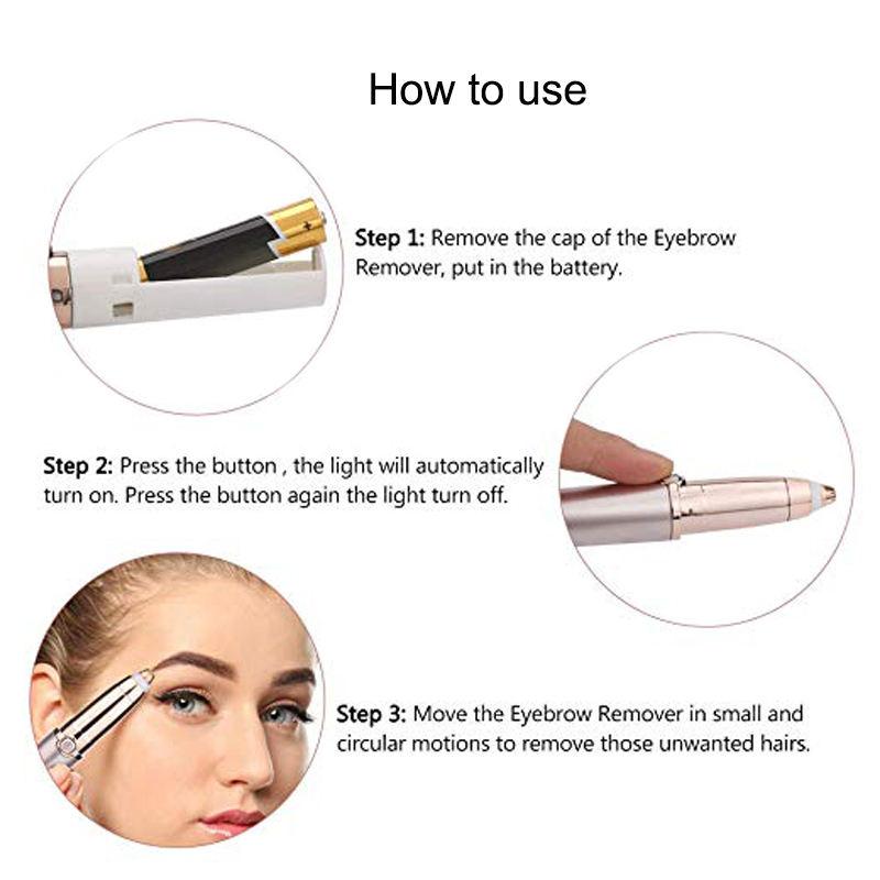 Portable Electric Painless Eyebrow Epilator Trimmer For Women Lipstick Eye Brow Epilator Pen Face Hair Remover Shaver Razor 1