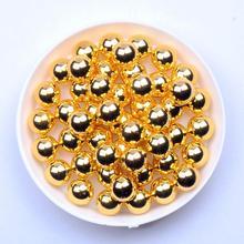 Металлические Золотые круглые бусины 4 мм 5 мм 6 мм 8 мм 10 мм без отверстия имитация смолы жемчуг творчество, рукоделие, Декор