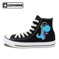 High Top Canvas Shoes Athletic Flat Original Design Cartoon Dinosaur Headset Listen To Music Unisex Sneakers