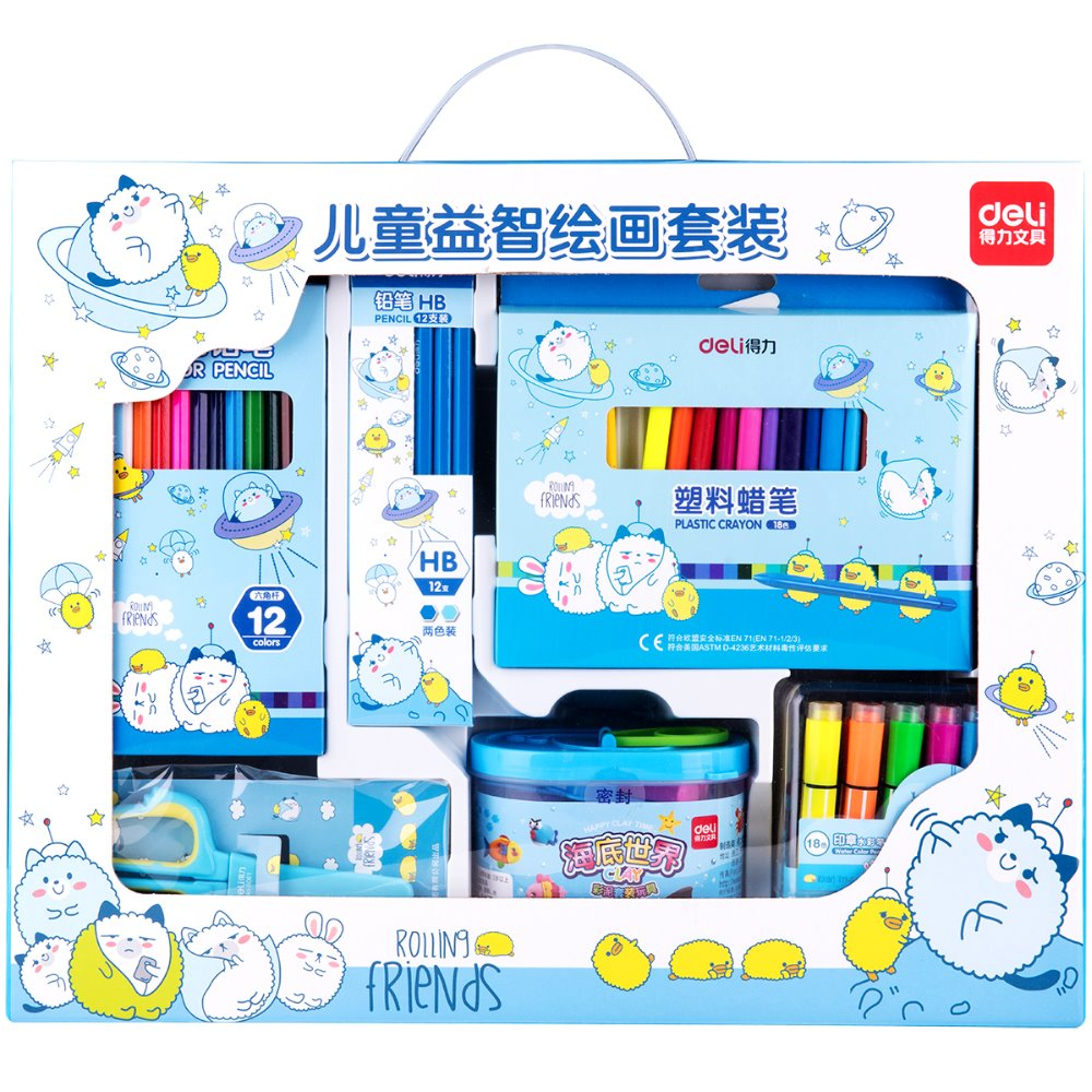 1 Pack Stationery Set Gift For Kindergarten Kids Boy And Girl 2 Colors Plasticine Crayon Water Color Pen Deli 9676 commercial sea inflatable blue water slide with pool and arch for kids