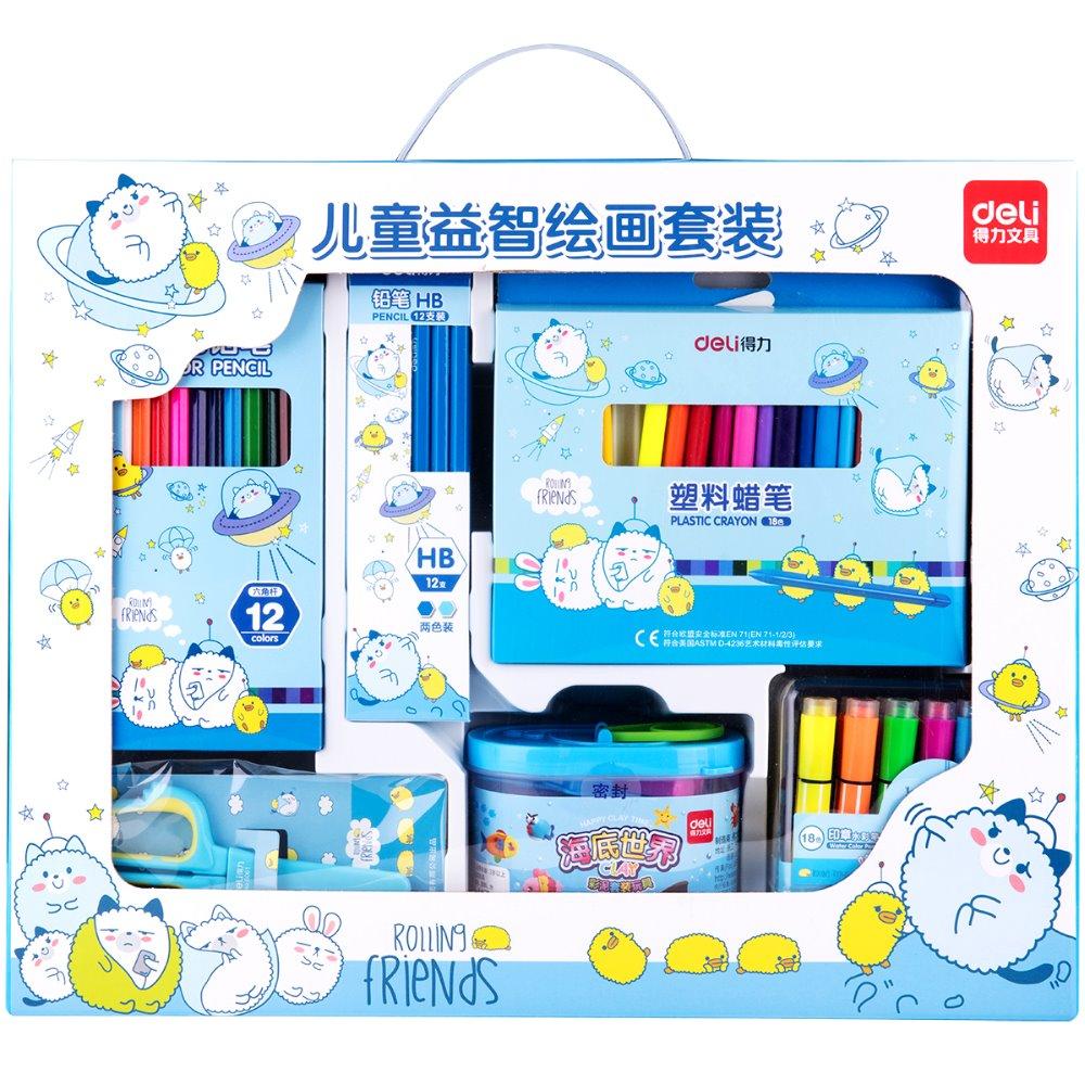 цена на 1 Pack Stationery Set Gift For Kindergarten Kids Boy And Girl 2 Colors Plasticine Crayon Water Color Pen Deli 9676