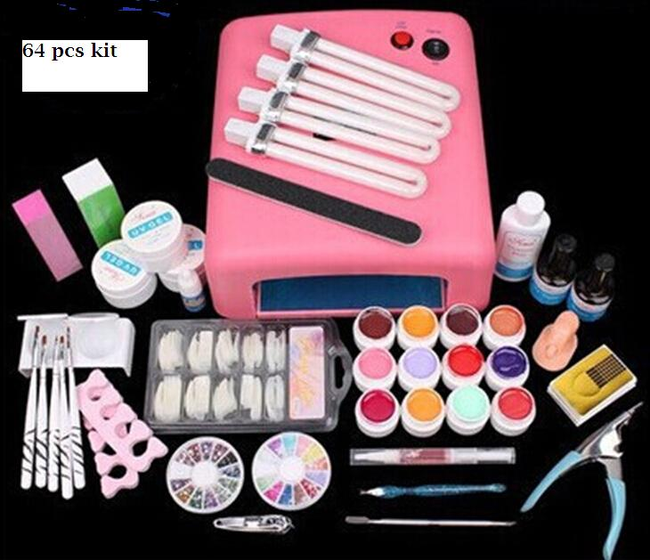 New 36W UV Dryer Lamp Timer Block Sanding French Nail Art Tips Gel Tools DIY Kit manicure set pink lamp eu plug 1gang1way touch screen led dimmer light wall lamp switch not support livolo broadlink geeklink glass panel luxury switch