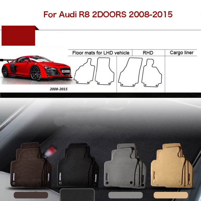 """2pcs Custom Made 1/2"""" Thickness Solid Nylon Interior Odorless Floor Carpet Mats Cover Fitted For Audi R8 2008-2015"""