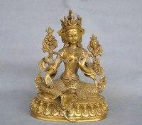 Xd 001171 7 ''Chiny Tybet Czysta Brąz Zielona Tara Posąg Buddy w Posągi i rzeźby od Dom i ogród na