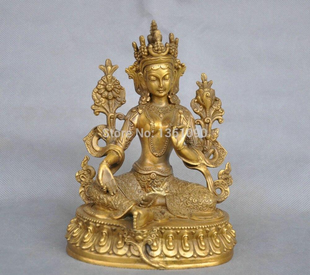 xd 001171 7'' China Tibet Pure Bronze Green Tara Buddha Statue statue tara statues buddha statue tibet - title=