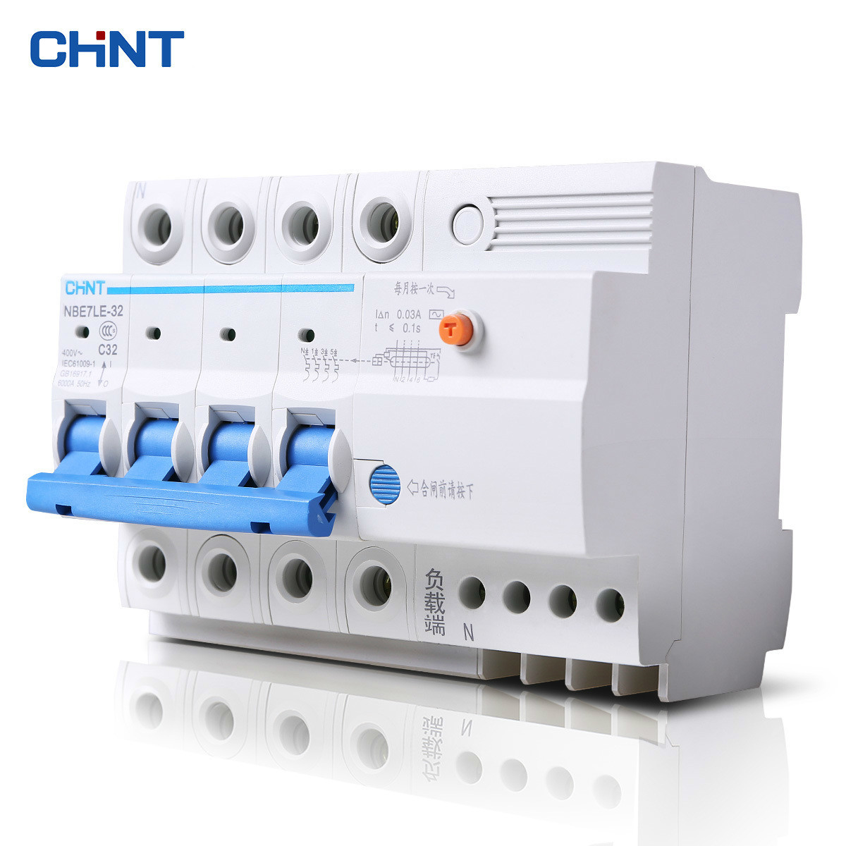 цена на CHNT CHINT Leakage Protection Leakage Circuit Breaker NBE7LE 4P 16A 20A 25A 32A 40A 63A With Leakage Protector Air Switch