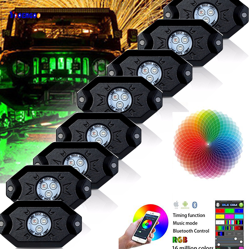 8 Pods RGBW Led Rock Lights Bluetooth & Switch Control 16 million Colors RGB Under Car Light for Off Road SUV 4x4 Boat relogio masculino binkada skeleton mens automatic mechanical watches men military sport luminous watch male clock wristwatch