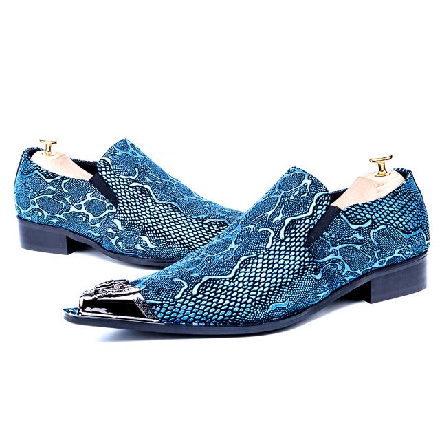 Christia Bella Brand Italian Snake Pattern Wedding Men Dress Shoes Blue Genuine Leather Business Men Formal Shoes Plus Size