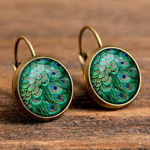 2018 New Bohemia Glass Cabochon Peacock Big Earring Women Fashion Ethnic Green Round Ear Pendant Dangle Earrings Brincos Jewelry(China)