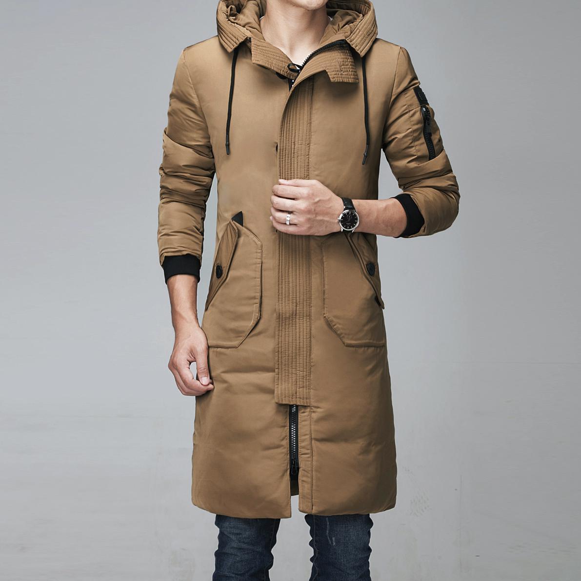 E lungo Gli Impermeabili A Di Outwear Caldo men Slim Con Casual Inverno  Parka men Modo Black Uomini Cappuccio Nuovo Giubbotti ... 71414820845