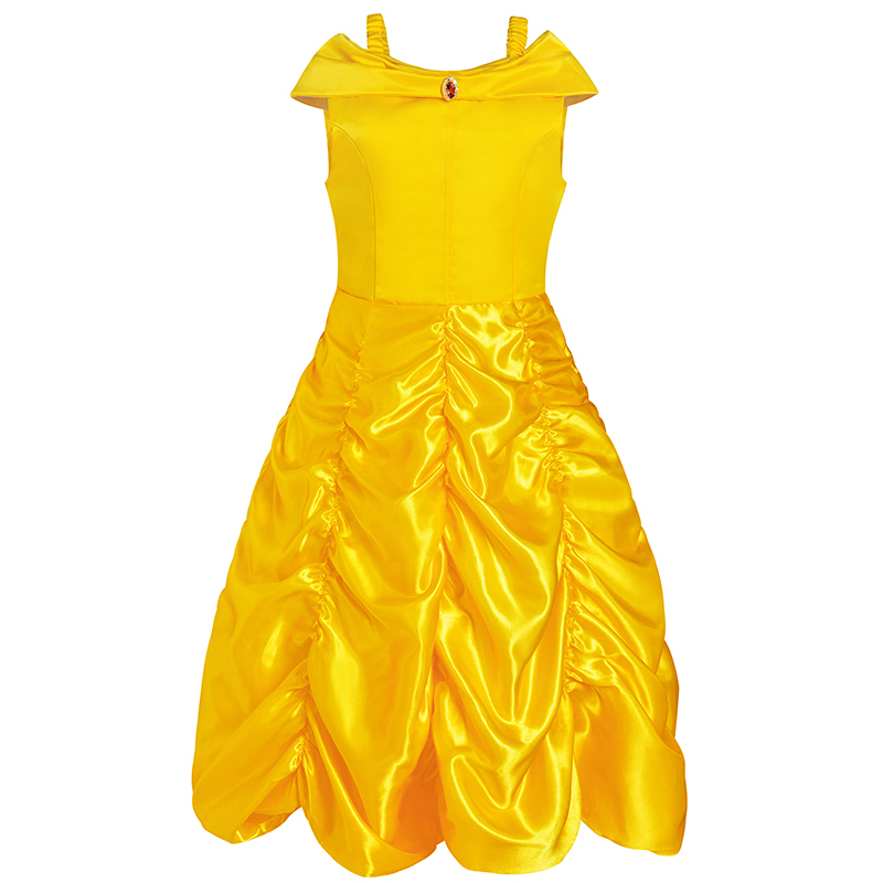Girls Dresses Princess Belle Halloween Beauty and the Beast Costume Fancy Halloween Costumes Carnival Party Ball Gown Dress nnw beauty and the beast belle cosplay princess fancy kids costumes grils yellow dresses with sleeve hight quality