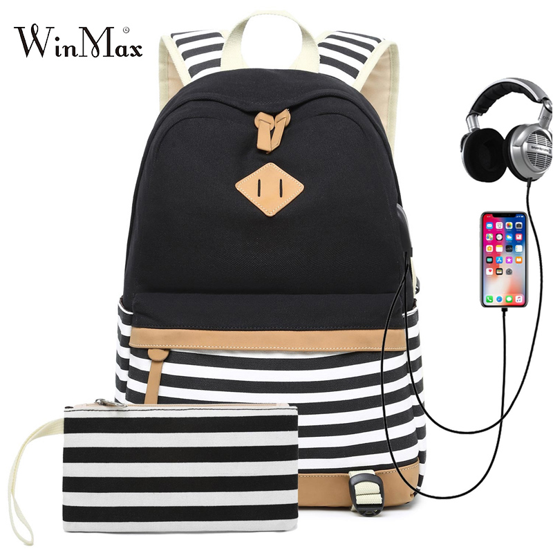 2 Sets USB School Bags For Teenager Girls Backpack Laptop Bag For Women 2019 Backpacks Phone Bag Striped Print Mochila Escolar
